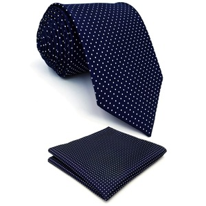 S6 Dots Navy Dark Blue White Ties For Men Silk Neck Tie and Pocket Square Set Extra Long Slim