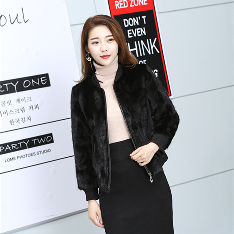 2018 women's outerwear coats new mink fashion casual natural real pieces mink fur outwear
