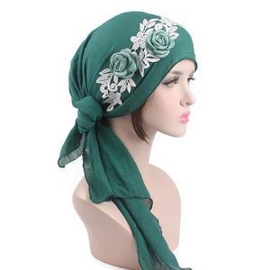 Image 3 - 8 個の女性イスラム教徒のヘッドスカーフ花化学及血帽子アラブイスラムターバン事前縛ら帽子バンダナがんキャップファッションランダムな色