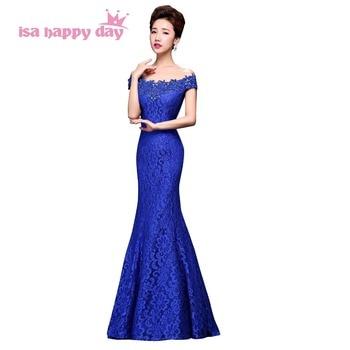 long royal blue lace formal off shoulder women mermaid bridal tight sexy prom dresses 2020 dress gown elegant dresss W2789