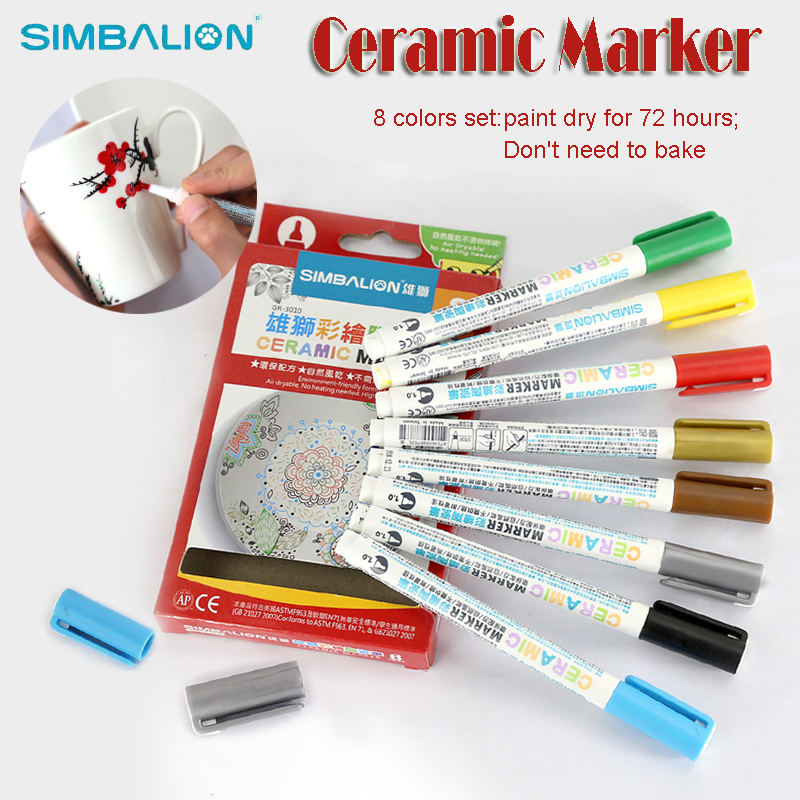 simbalion ceramic marker set write on glass permanent metallic paint markers waterproof edding fine point pens for kids drawing