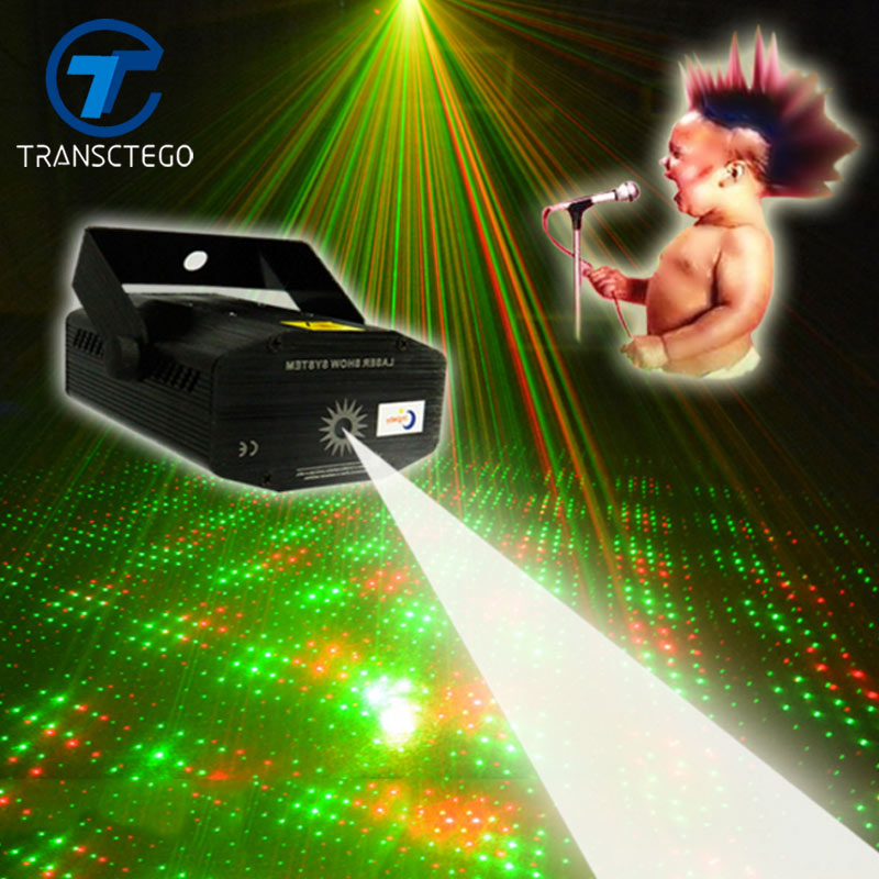 Led Disco Light Laser Mini Bärbar akustisk ljudkontroll Scenlampa för Bar Stage KTV Starry Sky Disco Night Laser Lights