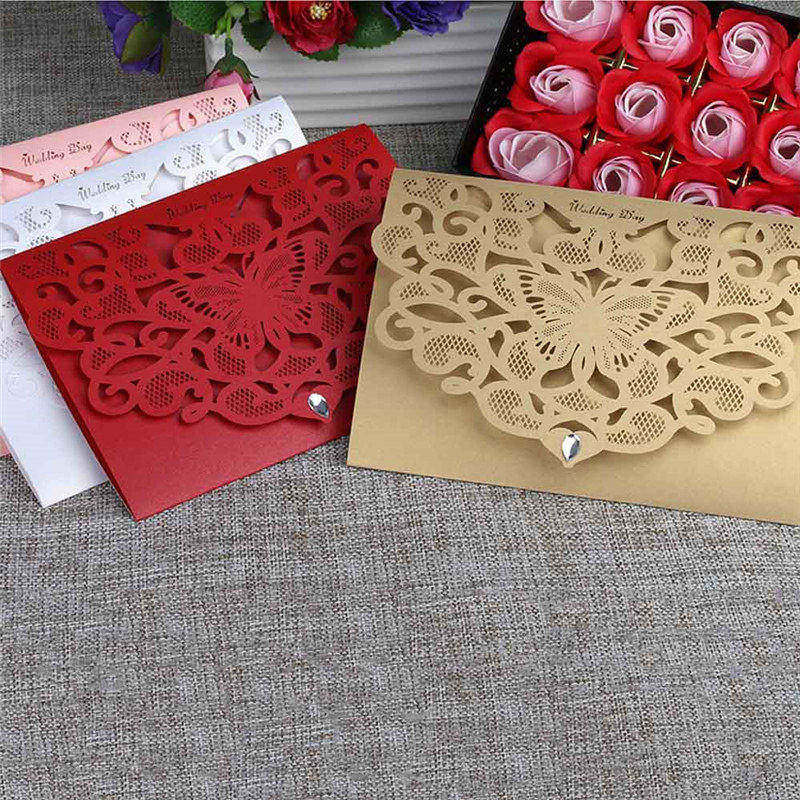 50 Sheets Table Place Card With Envelopes Laser Cut Wedding Invitations Deco Wedding Creative Decorations Thank You Cards