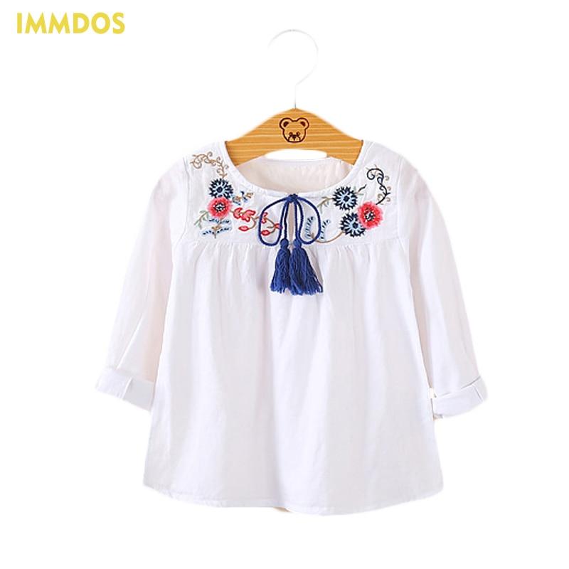 IMMDOS Girls Spring Blouses kids Tassel Shirts For Girl Girls Cotton Autumn Half Sleeve Children Casual Blusas 2018 New Shirts