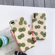 Matte oil painting green wave point phone case For iphone XS MAX XR X 6 6s 7 8plus anti-staining soft shell TPU back cover