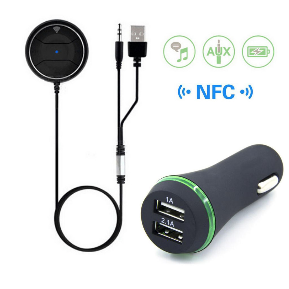 imágenes para JRBC01 NFC Manos Libres Bluetooth Kit de Coche MP3 A2DP 3.5mm AUX Audio Música Adaptador Del Receptor con 3.1A Dual USB Car cargador
