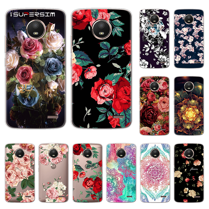 Cute Summer Roses Case for <font><b>Motorola</b></font> Moto <font><b>E4</b></font> <font><b>XT1762</b></font> Case Silicone Ultra Thin Soft TPU Rubber Transparent Clear Back Print Cover image