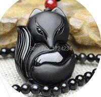 36 x 50 mm chinois noir obsidienne naturelle sculptée rondeur renard collier chanceux pendentifs