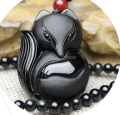 36x50mm Chinese Black Natural Obsidian Carved roundness fox necklace lucky pendants