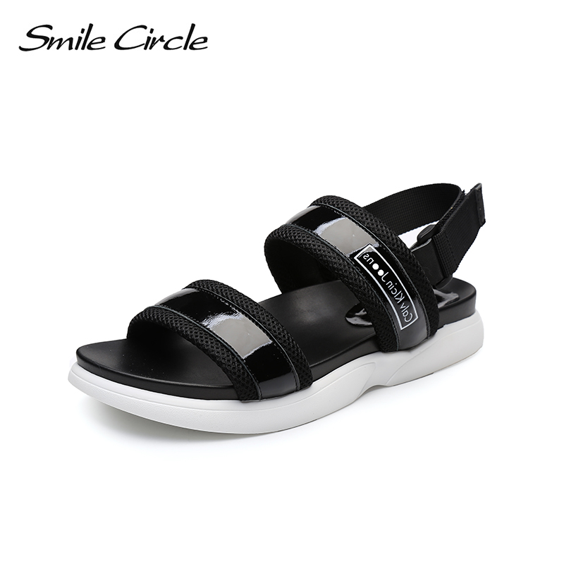 Smile Circle Summer Style Leather Casual Sandals Women Fashion Flat Shoes Women Open Toes Ankle Strap Shoes Outdoor Casual Shoes hellyhansen women s outdoor casual shoes leather shoes flat shoes