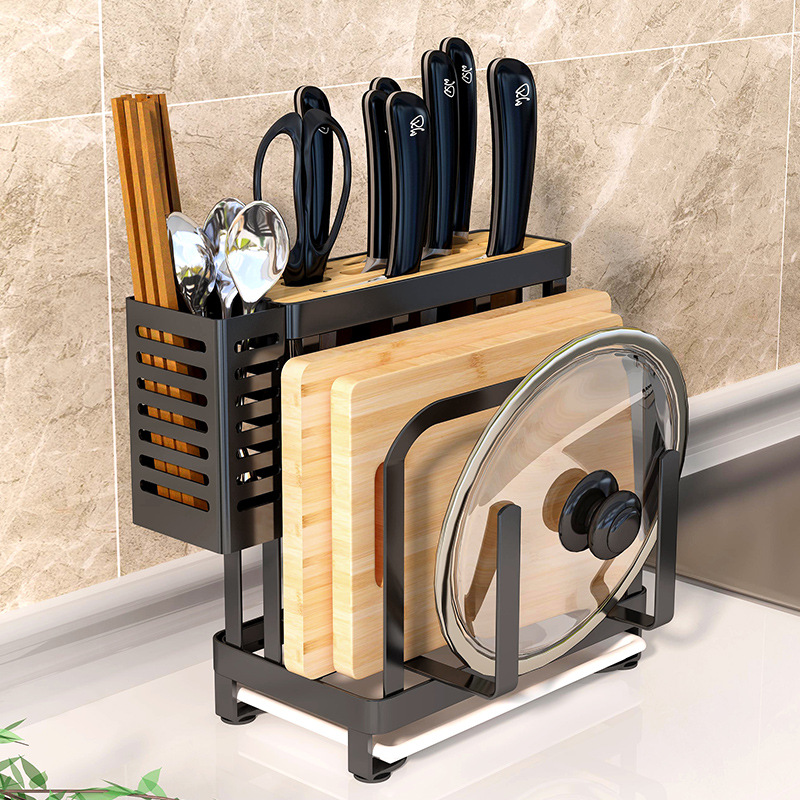 Stainless Steel Kitchen Storage Holder Floor Type Kitchen Shelf Rack Pot Lid Cutting Board Holder Knife Tableware Organizer