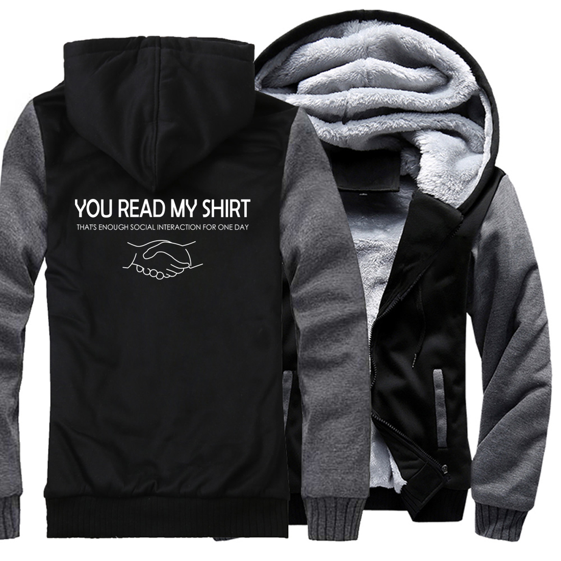 men casual hip-hop Brand clothes hooded You Read <font><b>My</b></font> Shirt That's Enough Social jackets 2018 winter male fitness coats sweatshirt