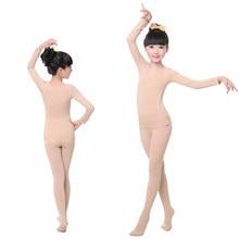 Ropa interior de baile para niños y niñas, traje de manga larga de Color piel, alta elasticidad, para gimnasia, Ballet, mono de baile