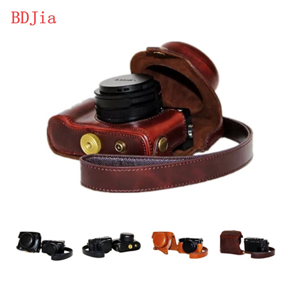 New Pu Leather Camera <font><b>Case</b></font> Bag for Panasonic <font><b>Lumix</b></font> LX100M2 LX100II <font><b>LX100</b></font> with Shoulder strap ,Black/coffee/brown image