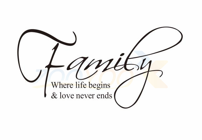family where life begins love never ends english quote wall decal