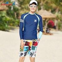 Rash Guard Men Long Sleeve Swimsuits Shirt + Printed Trunks UPF 50+ UV Protection Beach Sun Shirt Swim Tee Navy