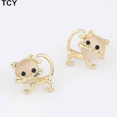 Cute opal Kitty Cat Stud Earrings For Women Children Girls Kids Jewellery Gift brinco pequeno wholesale earrings