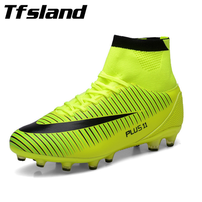 New Adults Men's Outdoor Soccer Cleats Shoes High-top TF FG Football Boots Training Sports Sneakers Soft Soccer Shoes Zapatillas tiebao new men outdoor grass soccer shoes cleats for adults children sports football shoes brand football boots male size 35 44
