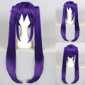 80CM SCHOOL-LIVE! Anime hair Ebisuzawa Kurumi Wig Long Straight Purple Cosplay Wig+Double Ponytail Wigs