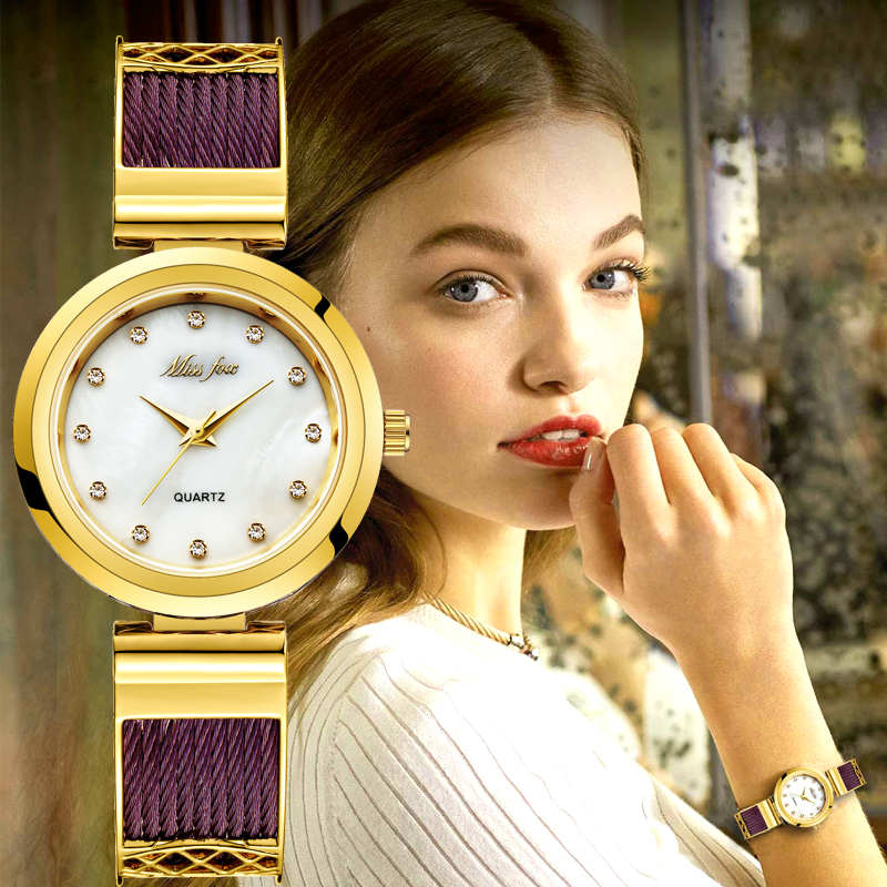 MISSFOX Dress Wrist Watches For Women Brands Geneva Ladies Watches Women's Stainless Steel Bracelet Fashion Female Gold Watch