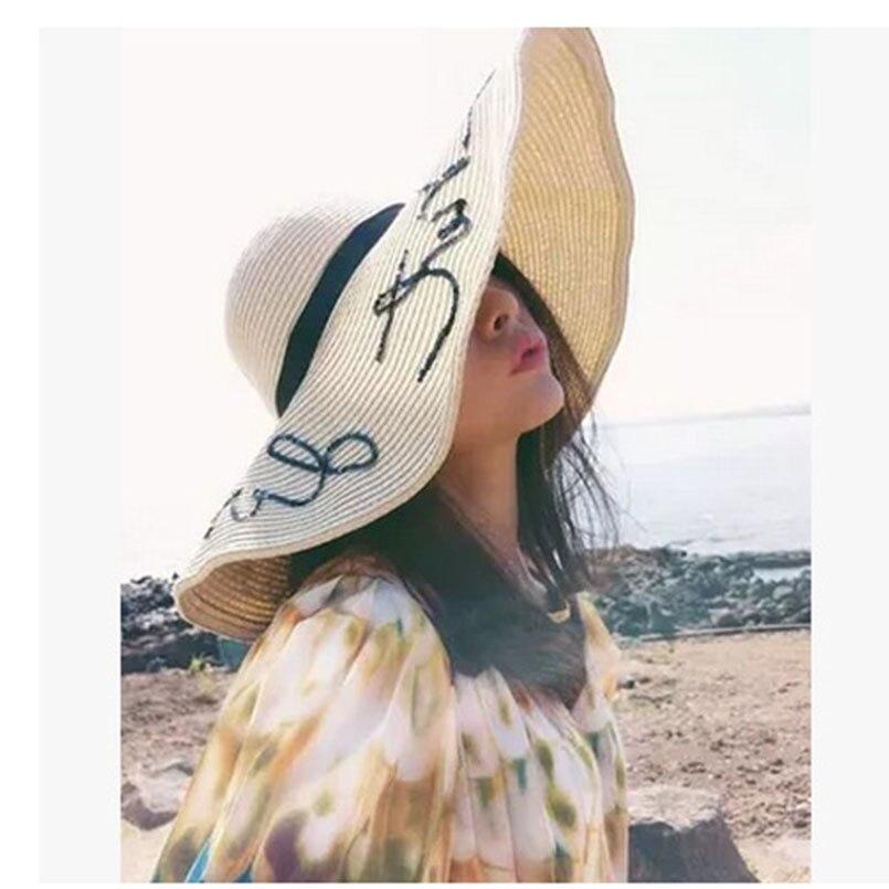 2018 Hot Sale Round Top Raffia Wide Brim Straw Hats Lady Summer Sun Hats WomenStraps With Leisure Beach Hats Solid Flat Gorras