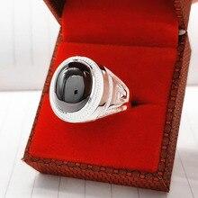 999 тонкое серебряное мужское кольцо властная личность широкая панель Черный BanZhi серебро один индекс