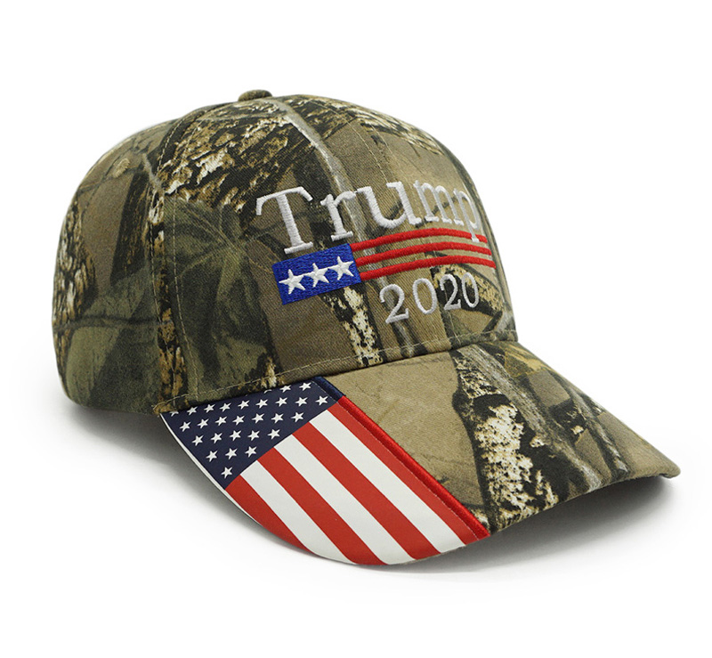 High Quality Trump 2020 Hat USA Flag Camo Baseball Cap 3D Embroidery Keep