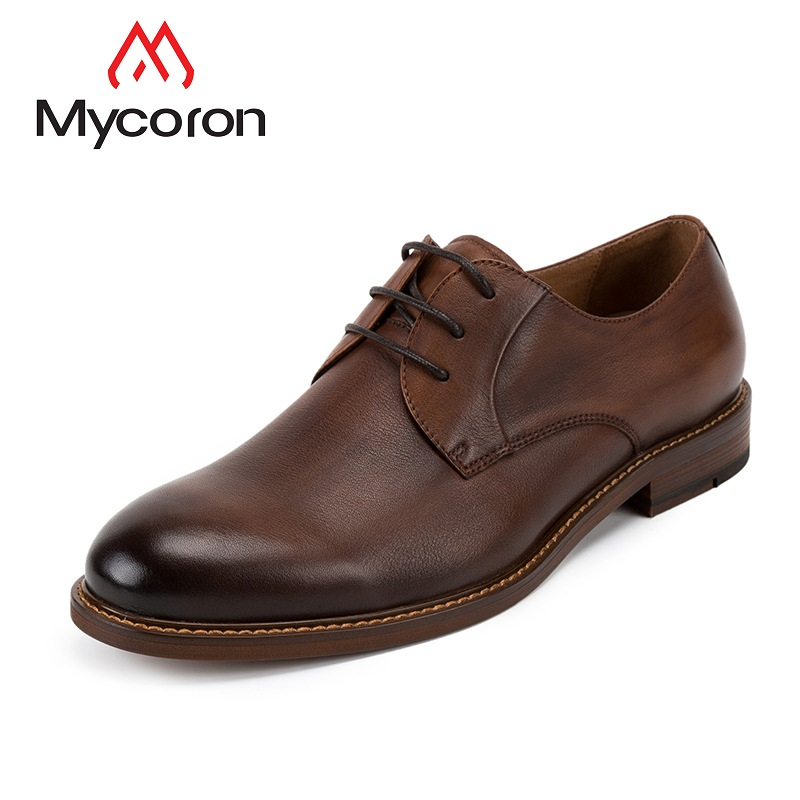 MYCORON Men Genuine Leather Boots Luxury Designer British Style Round Toe Formal Lace-Up Casual Leather Shoes Zapatos Hombre недорого