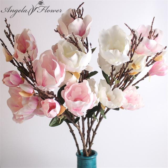 2pcslot 94cm Big Artificial Magnolia Flowers Branch Fragrant Silk