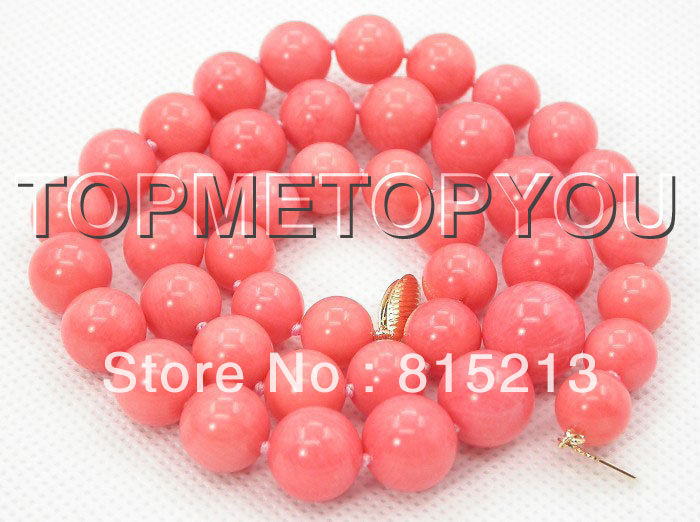 ddh0027 NATURAL GRADUATED 14MM PINK CORAL NECKLACE 14K GOLD CLASP 28% Discount A0510 Chains Bridal Jewelry momen