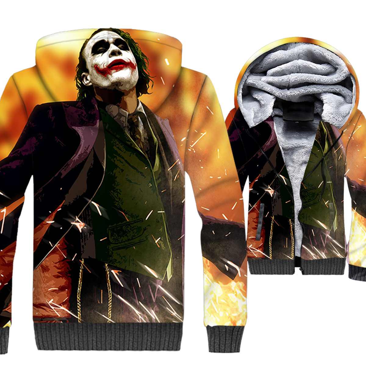 men thick long sleeve wool liner coats 2019 Batman Joker Why So Serious jackets clown funny 3D print hooded tracksuit sweatshirt