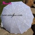 10 pçs/lote Frete Grátis Excelente Bordados Vitoriana Sun Guarda-chuva, Sombrinha de Renda Branca