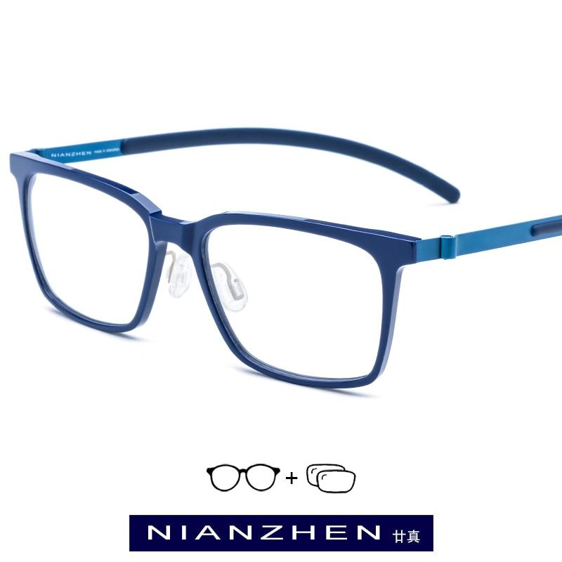 B Titanium Acetate Eyeglasses Frame Women Elastic Square Optical Frame Prescription Glasses for Men Vintage Japan Eyewear 19106