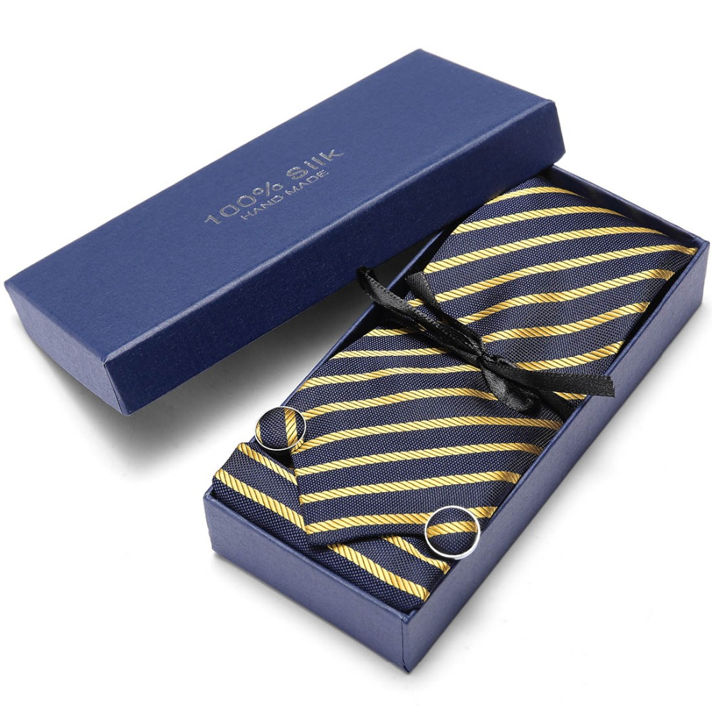 Gold Striped Tie Set For Men Mens Jacquard Woven Tie & Handkerchief & Cufflinks & Gift Box Set Wedding Party Corbatas  Necktie
