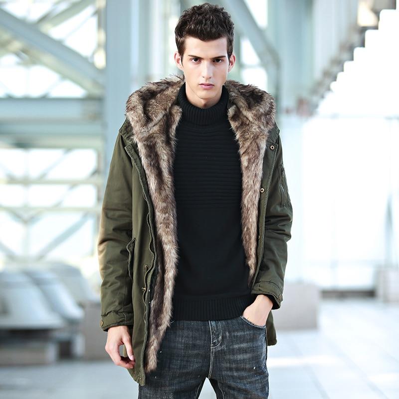 Army green cotton suede coat high fashion designer greatcoat men brand overcoat men faux fur coat men with hat warm jacket fur contrast color men s cotton coat with hat