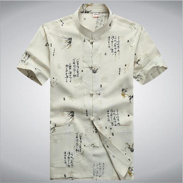 Marca Beige Tradición Chino Hombres Kung Fu Camisa de Verano de Manga Corta Tops casuales Wu Shu Ropa Ml XL XXL XXXL MS103