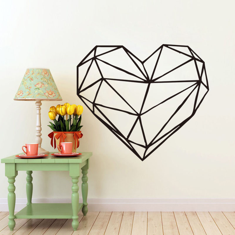 Geometric heart wall decal art design removable love heart shape art decal for bedroom decoration home decor in wall stickers from home garden on