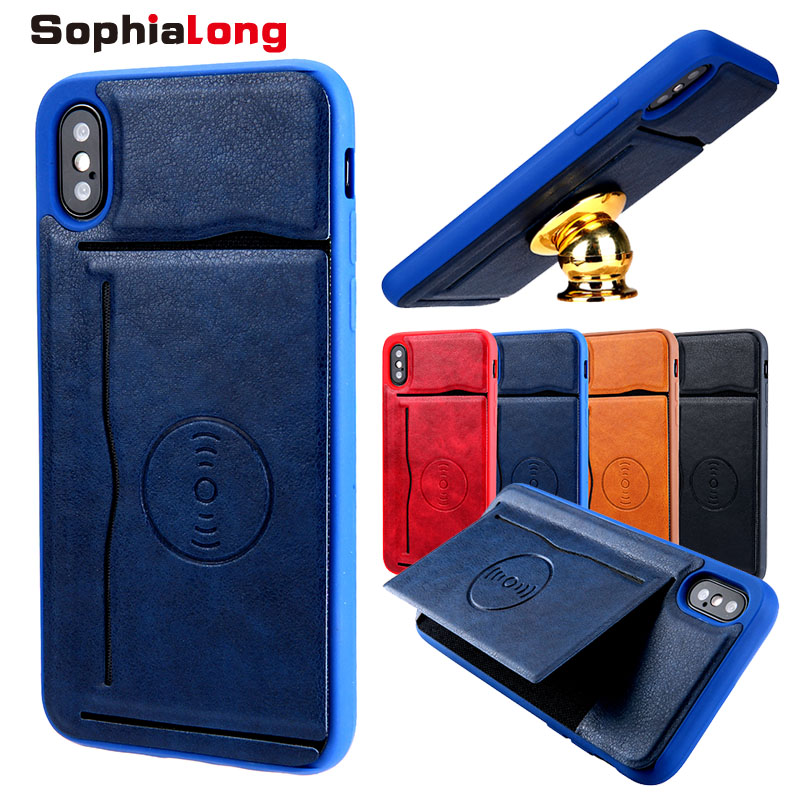 SophiaLong Back Cover for iPhone 10 X Case Coque for iPhone X Cover Fundas Card Holder 5.8 inch Cases with Support Stand Shell