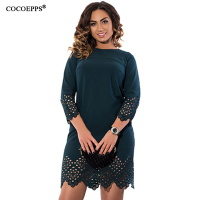 COCOEPPS Women Large Size Dress 2017 Plus Size Ladies O Neck Three Quarter Summer Short Dresses