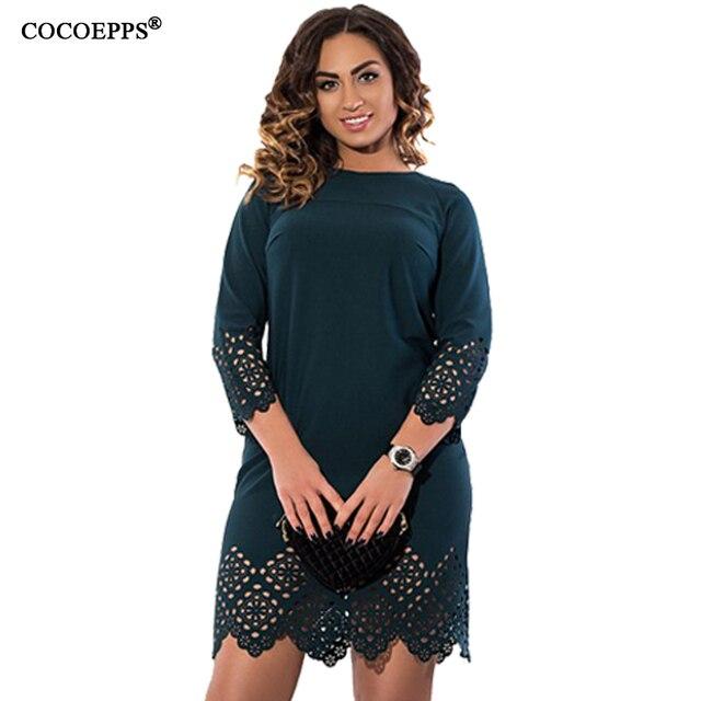 Cocoepps женщины большой размер dress 2017 плюс размер дамы o шеи three четверти летние короткие платья с застежкой-молнией vestidos femininos