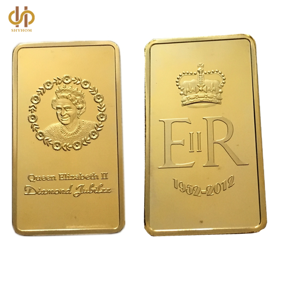 1952-2012 Elizabeth II Queen Diamond Jubilee Gold Plated Coins One Troy Ounce UK Bullion Bar Collections