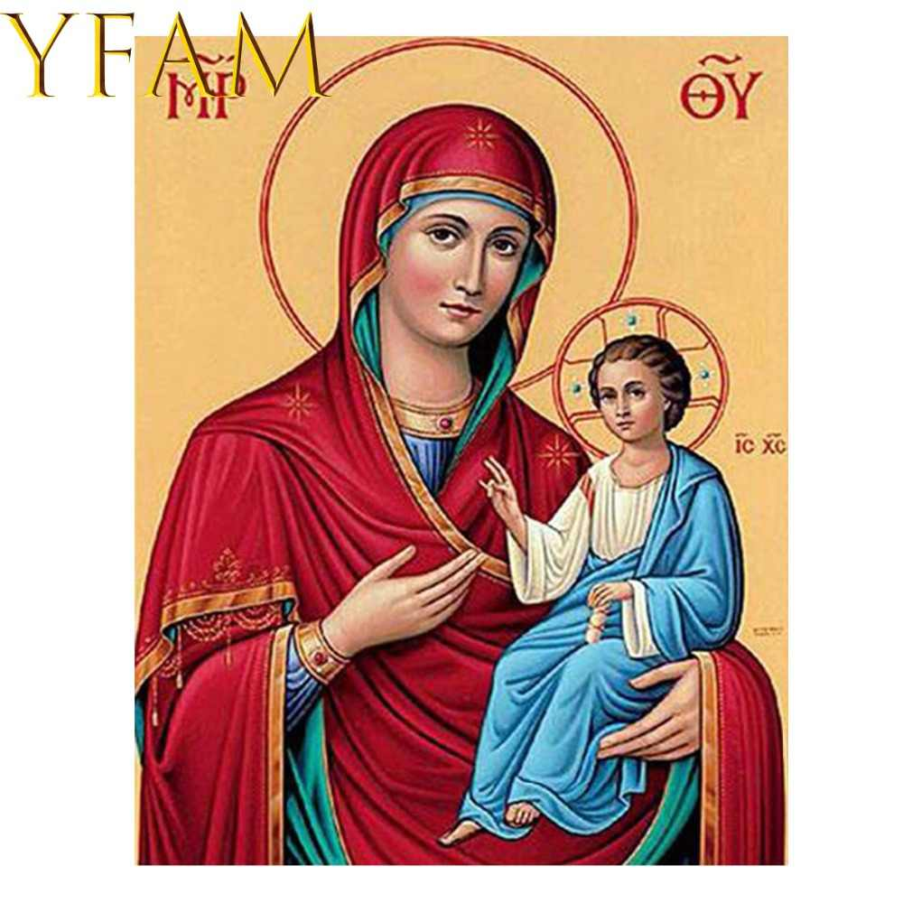 Virgin Mary Jesus Orthodox Icon Religi Painting By Numbers Acrylic DIY Hand Paint Drawing Modern Home Decor Wall Picture Artwork