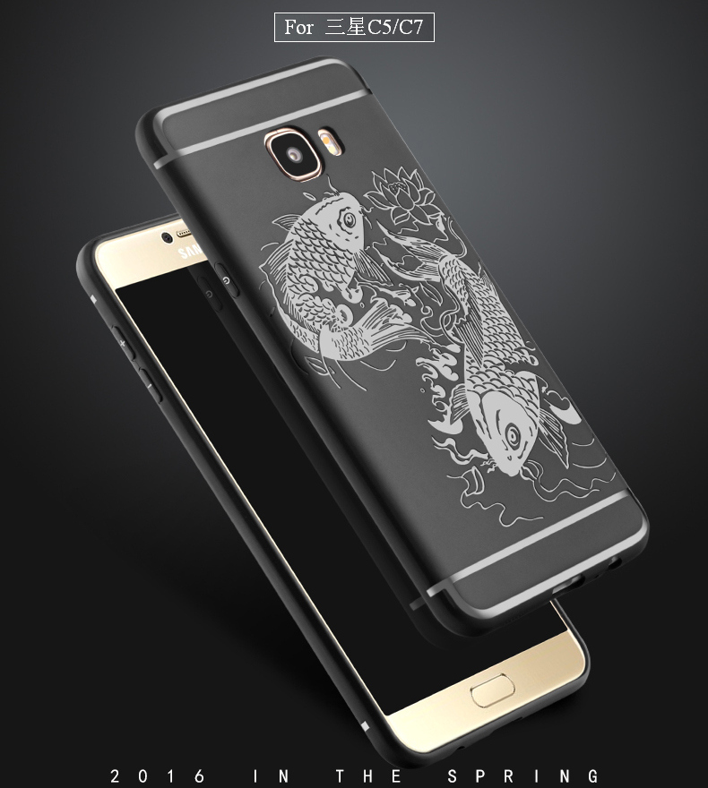 Full Protection For Samsung Galaxy C5 C5000 C7 C7000 Case Back Cover Lucky Fish Relief Anti