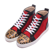 Handmade Designers Shoe Chaussure Homme Unisex Shoe Sequins Golden Spikes Casual Shoes Mens Red High Top Fahion Luxury Shoes Men