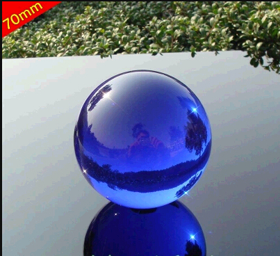 Lovely 70mm Rare Acid blue decorative solid glass ball crystal ball  SB05