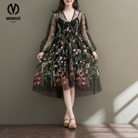 MUMUZI 2017 Real Photo Embroidery Floral Mesh Dresses Party Formal Vintage Flower Dresses Long Sleeve Lace