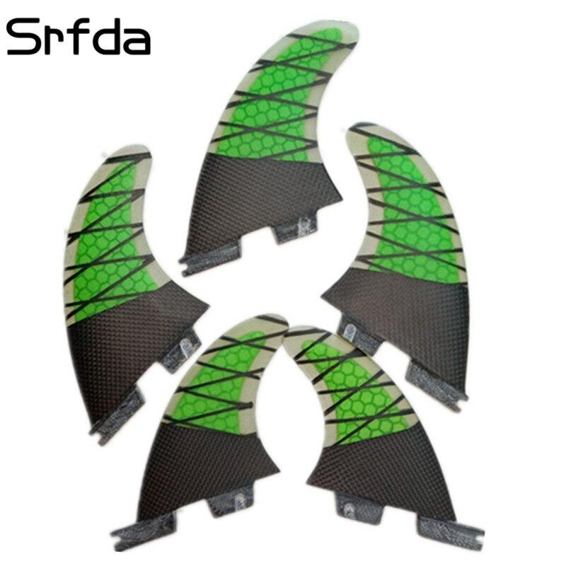 Srfda PLANCHE DE SURF AILETTES 5 pcs/ensemble pour AVENIR FCS FCS II Boîte NEW SURF FIN DÉRIVE en fiber de verre avec carbone sup ailettes 3G5 + 2GX taille vert