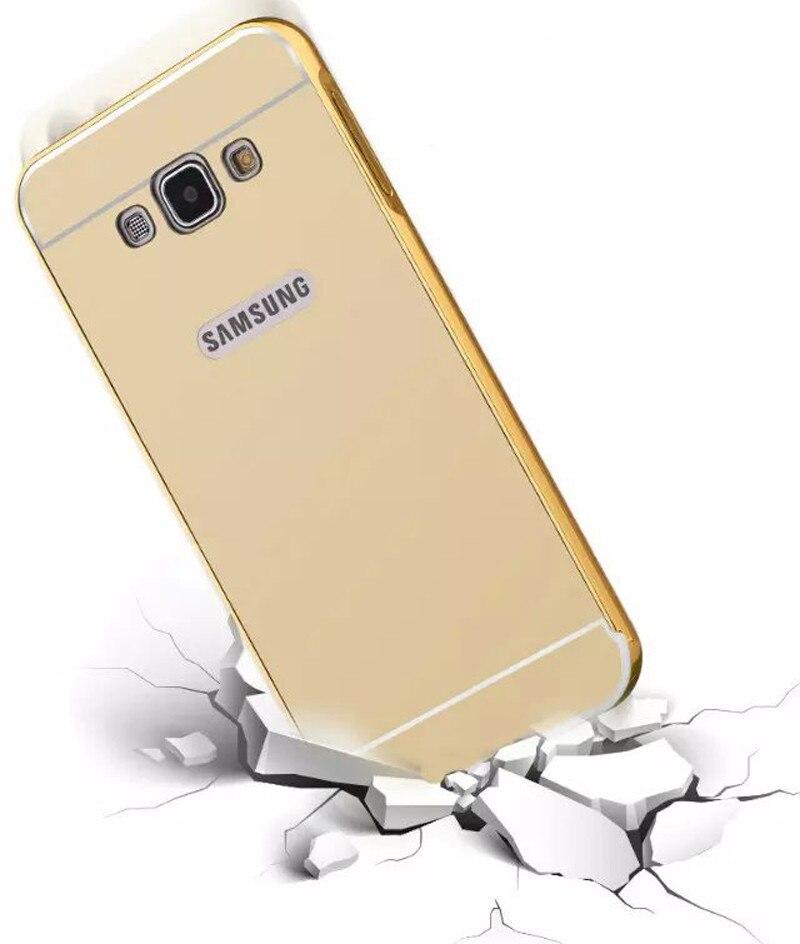 Etui For Samsung Galaxy J5 J7 2016 J3 J510 J710 Luxury Gold Plating Armor Aluminum Metal Frame + Mirror Acrylic Case Back Cover