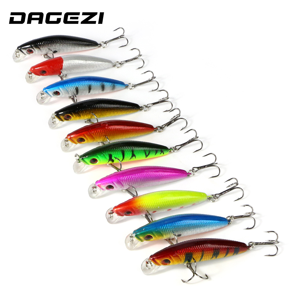 DAGEZI Fishing lure Deep swim hard bait fishing lures 10pcs/lot 9CM 7G artificial baits minnow fishing wobbler japan pesca