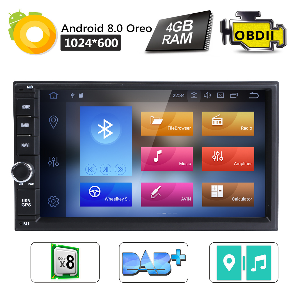 8OctaCore 4GB 32GB 7 Android8 0 Universal Car No DVD Radio Audio Stereo GPS Navigation 2Din